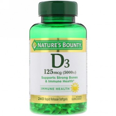Nature's Bounty, D3, 125 mcg (5,000 IU), 240 Rapid Release Softgels