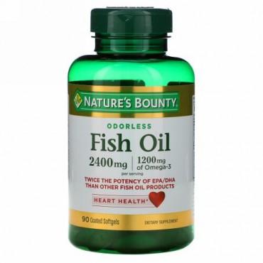 Nature's Bounty, フィッシュオイル、2,400 mg、コーティング済ソフトジェル90錠
