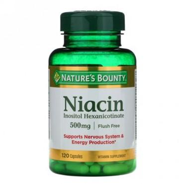 Nature's Bounty, フラッシュフリーナイアシン、 500 mg、 120カプセル