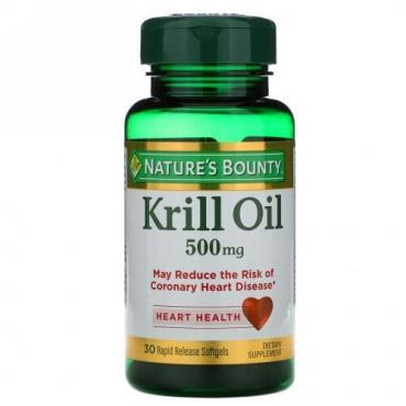 Nature's Bounty, クリルオイル、500 mg、急速放出ソフトジェル30粒