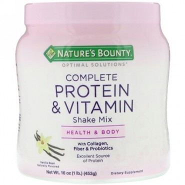 Nature's Bounty, Optimal Solution、、総合タンパク質&ビタミンシェイクミックス、バニラビーン、453g(16oz)
