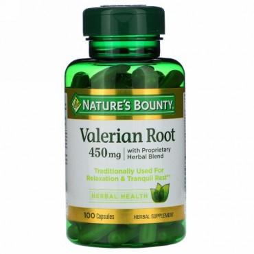 Nature's Bounty, 独自開発ハーバルブレンドのカノコソウの根、450 mg、100カプセル