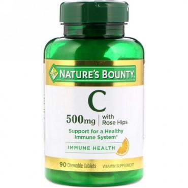 Nature's Bounty, ローズヒップ配合ビタミンC 、天然オレンジ味、500mg、チュワブル錠剤90個 (Discontinued Item)