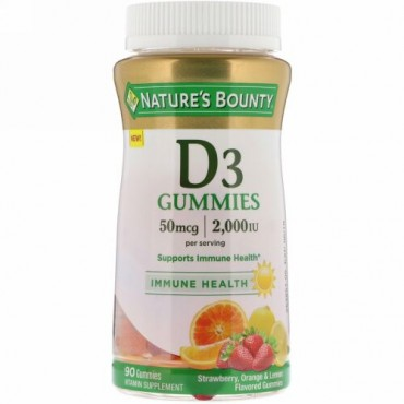 Nature's Bounty, Vitamin D3 Gummies,  Strawberry, Orange & Lemon Flavored, 50 mcg, (2,000 IU), 90 Gummies