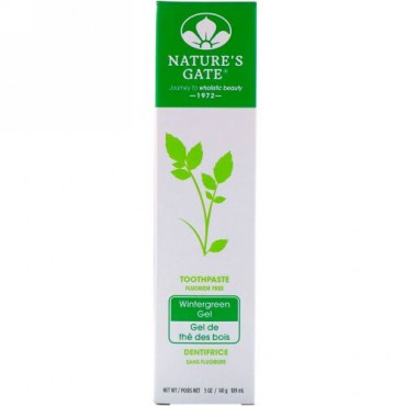 Nature's Gate, 天然歯磨き粉、フッ素不使用、ウィンターグリーン ジェル、5 オンス (141 g) (Discontinued Item)