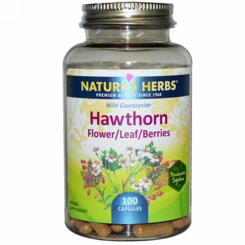 Nature's Herbs, セイヨウサンザシ、 花/葉/実、 100 カプセル