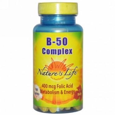 Nature's Life, B- 50 コンプレックス、100 錠