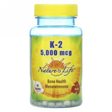 Nature's Life, K-2、 メナテトレノン、 5,000 mcg、タブレット60錠