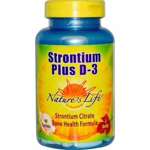Nature's Life, ストロンチウム プラス D-3、60 錠 (Discontinued Item)