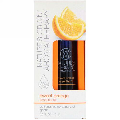 Nature's Origin, アロマテラピー、エッセンシャルオイル、スイートオレンジ、0.5液量オンス (15 ml) (Discontinued Item)