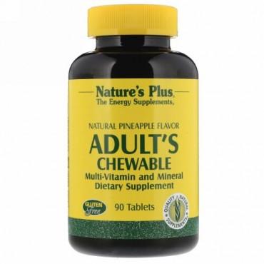 Nature's Plus, 成人用チュアブル・マルチビタミン&ミネラル、天然パイナップル味、タブレット90錠