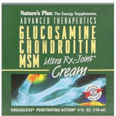 Nature's Plus, 高度な治療、グルコサミンコンドロイチンMSMウルトラRxのジョイントクリーム、4 fl oz (118 ml)