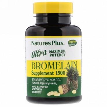 Nature's Plus, Bromelain Supplement 1500, Ultra Maximum Potency, 60 Tablets