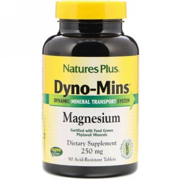 Nature's Plus, Dyno-Mins、マグネシウム、 250 mg、酸耐性タブレット90 錠
