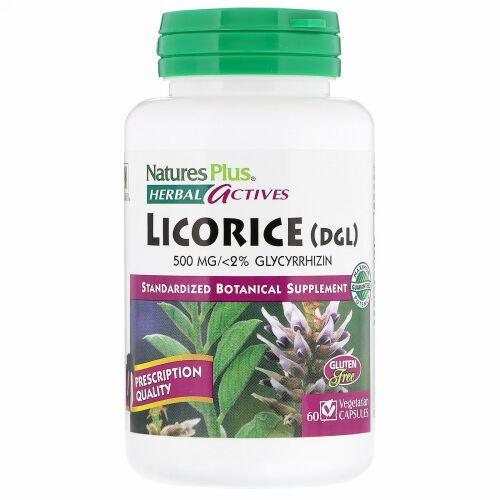 Nature's Plus, ハーバルアクティブス, 甘草(DGL), 500 mg, 60 ベジカプセル