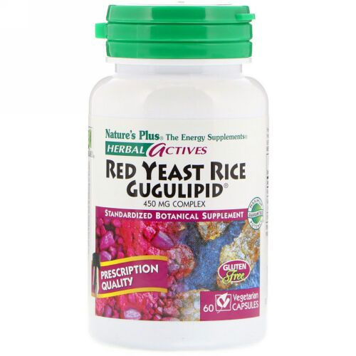 Nature's Plus, Herbal Actives, Red Yeast Rice Gugulipid, 450 mg, 60 Vegetarian Capsules (Discontinued Item)