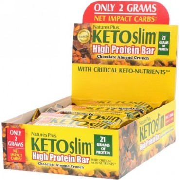 Nature's Plus, KETOslim(ケトスリム)、ハイプロテインバー、チョコレートアーモンドクランチ、12本、各60g(2.1オンス)