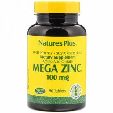 Nature's Plus, メガ亜鉛、 100 mg、 90タブレット