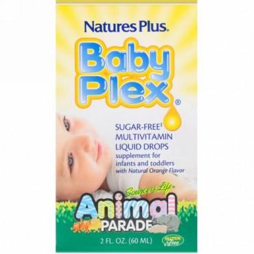 Nature's Plus, 生命の源泉(Source of Life), アニマルパレード, ベビープレックス(Baby Plex), 無糖マルチビタミン液滴, 天然オレンジ風味, 2液量オンス(60 ml)