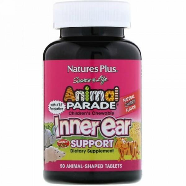Nature's Plus, ソースオブライフ, アニマルパレード、子供用チュアブル内耳サポート、ナチュラルチェリー風味、動物の形のタブレット90錠