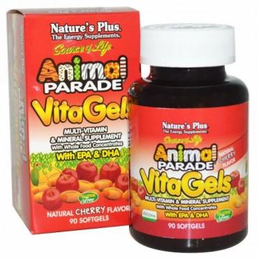 Nature's Plus, ソースオブライフ(Source of Life)、アニマルパレード、ビタジェル、マルチビタミン & ミネラルサプリメント、ナチュラルチェリー味、ソフトジェル 90 錠 (Discontinued Item)