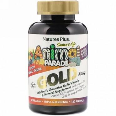 Nature's Plus, SourceofLife(ソースオブライフ)、アニマルパレードゴールド、子ども用チュアブルマルチビタミン&ミネラルサプリメント、天然アソートフレーバー、動物型タブレット120粒