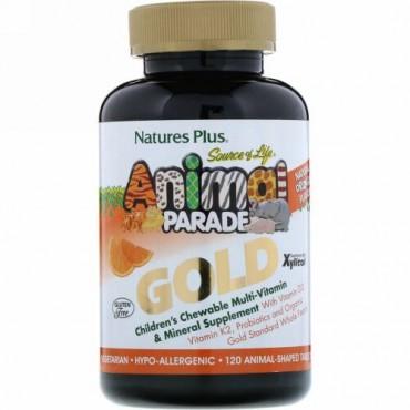 Nature's Plus, ソース・オブ・ライフ®, アニマルパレード® ゴールド, 子供用チュアブルマルチビタミン & ミネラルサプリメント, ナチュラルオレンジフレーバー,  動物 120匹