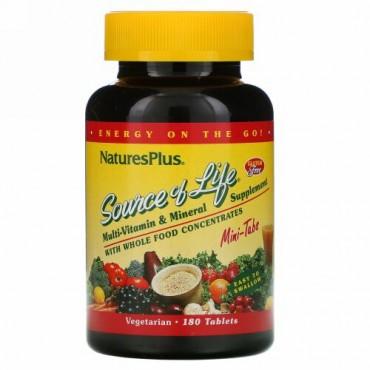 Nature's Plus, ソースオブライフ、ホールフード濃縮物配合マルチビタミン&ミネラルサプリメント、ミニタブレット180粒