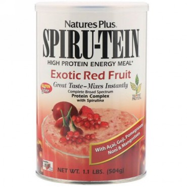 Nature's Plus, スピルテイン、 ハイプロテインエナジーミール、 エキゾチックレッドフルーツ、 1.1ポンド (504 g)