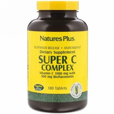 Nature's Plus, スーパー Cコンプレックス、 ビタミンC 1000 mgとバイオフラボノイド500 mg、 180錠