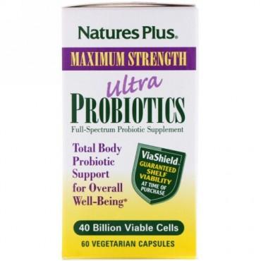 Nature's Plus, ウルトラプロバイオティクス、400億個の生細胞、ベジカプセル60粒
