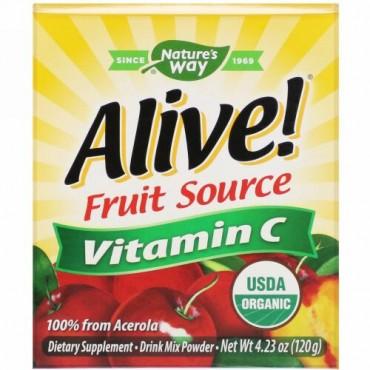 Nature's Way, Alive!(アライブ!)、フルーツソース、ビタミンC、ドリンクミックスパウダー、オーガニックアセロラフルーツ、120g(4.23オンス)