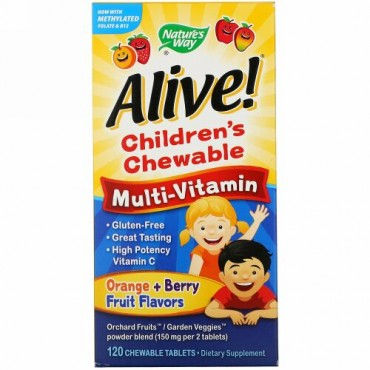 Nature's Way, Alive! (アライブ!)子供用チュアブルマルチビタミン、オレンジ + ベリーフルーツフレーバー、120チュアブル粒