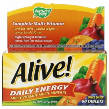 Nature's Way, Alive!(アライブ!)デイリーエナジー、マルチビタミン-マルチミネラル、60粒