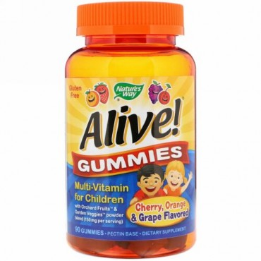 Nature's Way, Alive!(アライブ!)グミ、子ども用マルチビタミン、チェリー、オレンジ&グレープ味、グミ90粒