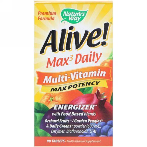 Nature's Way,  Alive! (アライブ!)マックス3 デイリー、マルチビタミン、90粒