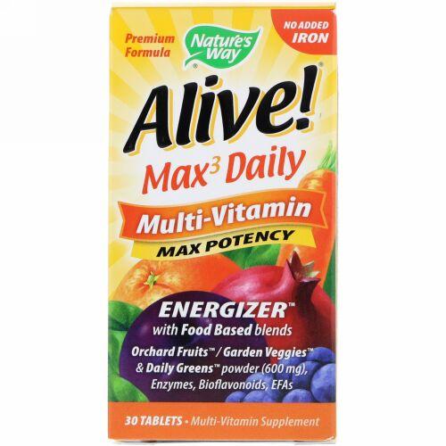Nature's Way,  Alive! (アライブ!)マックス3デイリー、マルチビタミン、鉄無添加、30錠