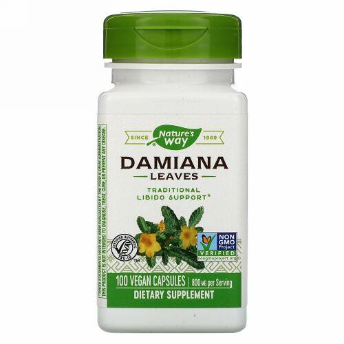 Nature's Way, Damiana Leaves, 800 mg, 100 Vegan Capsules