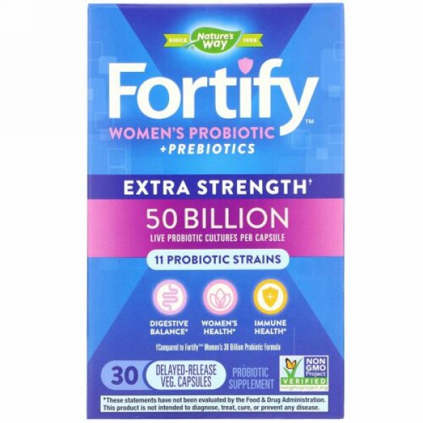 Nature's Way, Fortify, Women's Probiotic + Prebiotics, Extra Strength, 30 Delayed-Release Veg. Capsules (Discontinued Item)
