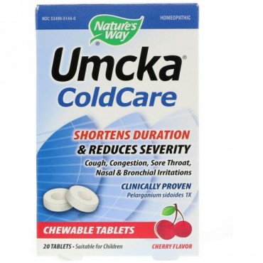 Nature's Way, Umcka, ColdCare, Cherry, 20 Chewable Tablets
