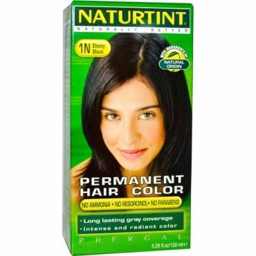 Naturtint, パーマネントヘアカラー, 1N エボニーブラック, 5.28 液量オンス (150 ml)