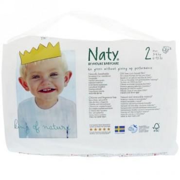Naty, おむつ、サイズ2、3〜6キロ(6〜13ポンド)、おむつ34枚 (Discontinued Item)