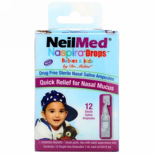 NeilMed, ナスピラドロップ, 乳児&幼児用, 生理食塩水, 12アンプル, 各0.034液量オンス (1 ml)