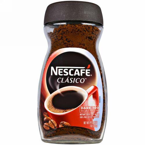 Nescafé, クラシコ, ピュア インスタント コーヒー, ダークロースト, 7 オンス (200 g)