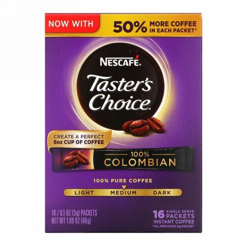 Nescafé, Taster's Choice インスタントコーヒー、コロンビア100% , 1人用16パック 1パック 0.1 オンス (3 g)