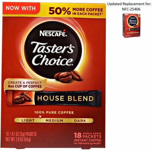 Nescafé, Taster's Choice, インスタントコーヒー, ハウスブレンド、1人分18袋、各0.1 オンス (3 g) (Discontinued Item)