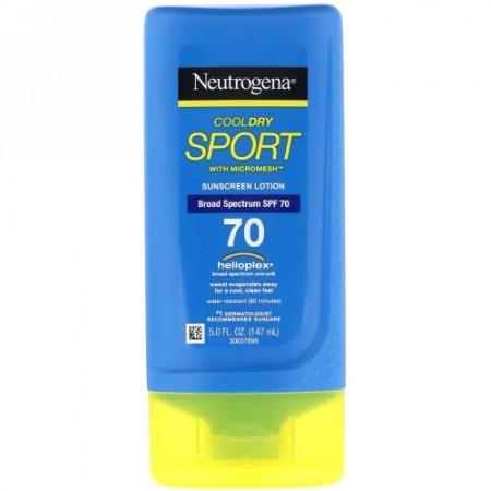 Neutrogena, クールドライスポーツ、 マイクロメッシュ付き、 日焼け止めローション、 SPF 70、 5.0 fl oz (147 ml) (Discontinued Item)