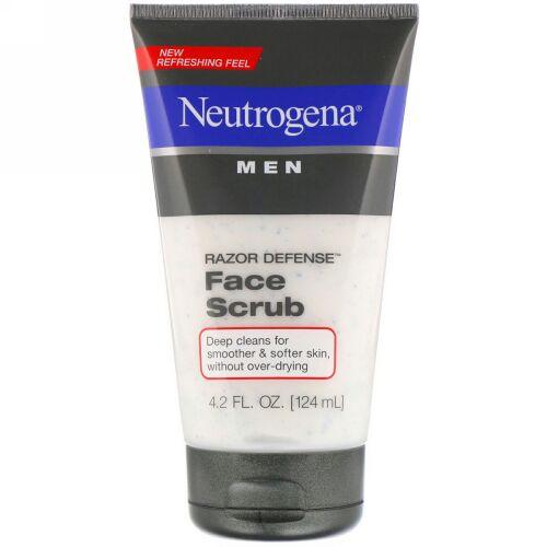 Neutrogena, 男性用、 レイザーディフェンス・フェイススクラブ、 4.2 液量オンス (124 ml) (Discontinued Item)