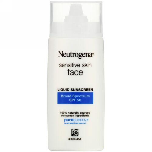 Neutrogena, Sensitive Skin, Face,  Liquid Sunscreen, SPF 50, 1.4 fl oz (40 ml)