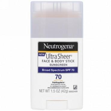 Neutrogena, ウルトラ 透明フェイス& ボディスティック、 日焼け止め、 SPF 70、 1.5 oz (42 g)